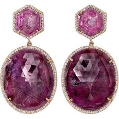 Jewelry Diamond : Irene Neuwirth Ruby Sapphire & Diamond earrings. One-of-a-kind drop earrings w