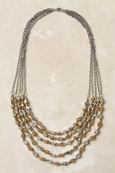 "Gold statement necklace.  Multi-strand with interesting stuff on it. At least 18"" at the shortest part.  Gold only.  No other colors, and no clear beads.  just gold."