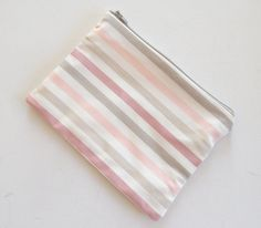 Zipped Lined Pouch Pink Beige & Grey Ombre Stripes -Makeup Bag - Medium size Cosmetics Bag - Pencil Case - Cosmetics Case -Pochette (10.00 EUR) by CurlyHairMonsters