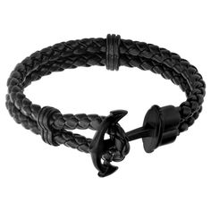 Men's Steel Art Black Braided Leather Bracelet with Stainless Steel Black IP Anchor Clasp Mens Gold Bracelets, Black Bracelets, Wrap Bracelets, Leather Bracelets, Jewelry Bracelets, Black Leather Bracelet, Leather Jewelry, Gents Bracelet Designs, Steel Art