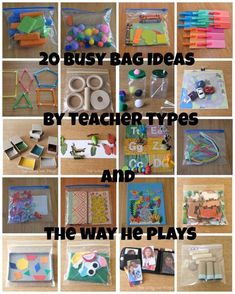 teacher types: 20 Busy Bags Ideas for Busy Little People Quiet Time Activities, Toddler Learning Activities, Infant Activities, Preschool Activities, Indoor Activities, Family Activities, Summer Activities, Toddler Airplane Activities, Road Trip Activities