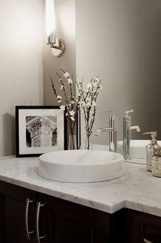 Powder Room Design, Pictures, Remodel, Decor and Ideas - page 30 (colors-light gray, dark brown vanity, black frame)
