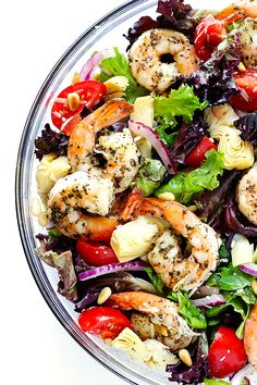 Gimme Some Oven Shrimp and Artichoke Green Salad with Lemon Vinaigrette | Gimme Some Oven
