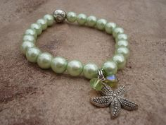 Starfish Charm Bracelet With Mint Green by MakeMeSmileJewelry, $22.00