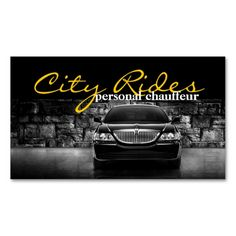 Chauffeur Town Car Driver Transportation Business Business Card. Make your own business card with this great design. All you need is to add your info to this template. Click the image to try it out!