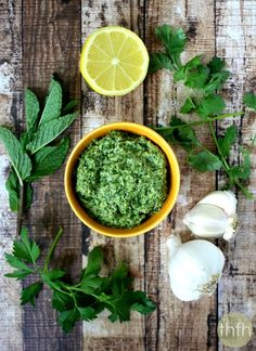 Clean Eating Fresh Herb and Tahini Pesto...made with fresh, clean ingredients and it's raw, vegan, gluten-free, dairy-free, nut-free, paleo-friendly and ready in minutes | The Healthy Family and Home | #rawfoods #vegan #glutenfree #cleaneating #pesto