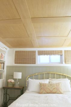 Are you looking for basement ceiling options? We were too. We wanted an idea for our low basement ceiling - we found one! A special plywood. This idea incorporates the beauty of a wood ceiling on a tiny budget. This inexpensive idea cost about $1.50 a square foot. This is a great basement ceiling on a budget! #diy #decor #budgetdecor #basement #ceiling Basement Guest Rooms, Small Basements, Low Ceiling, Basement Ceiling, Plywood Ceiling, Basement Decor, Remodel, Home Decor, Basement Windows