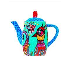 Housewares-kitchen-Teapot- polymer clay-Whimsical-Original- Drawing