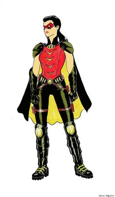DC Comics has released the first full-body look at Helena Wayne, the Earth 2 daughter of Bruce Wayne, in her pre-Huntress alter-ego of Robin as conceived by 'Worlds' Finest' series co-artist Kevin Maguire. Tim Drake Red Robin, Robin Dc, Batman Robin, Batman Batman, Batman Sidekicks, Superhero Villains, Gotham Villains, Batwoman, Batgirl