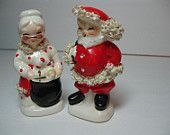Vintage Christmas Salt and Pepper Shakers - Spaghetti Santa and Mrs. Claus Napco