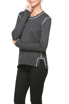 Charcoal grey sweater with lighter grey trimming at the seams. Extremely comfortable fabric! Pair with jeans or black pants.   Piper Crewneck Sweater by subtle luxury. Clothing - Sweaters - Crew & Scoop Neck New Jersey