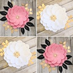 PDF Tiny Rose 3 Paper Flower 6 Different sizes Trace and   Etsy Handmade Home Decor, Handmade Decorations, Wedding Decorations, Flower Petal Template, Silhouette Cameo Files, Cricut, Large Paper Flowers, Diy Papier, Stencils