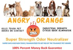 Originally developed as an agricultural and industrial product aimed at eliminating livestock and poultry production odors. Angry Orange became a huge success and far surpassed estimated effectiveness. It is an effective odor control and disinfectant product.  Angry Orange can be used to remove all types of Pet odor and stains including dog urine , cat urine, litter box odors, as a pet odor yard spray, a pet odor remover from concrete, removes odor from hard wood floors and carpet.