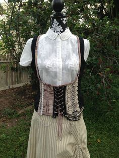 Everyday steampunk. Upcycled  black, taupe and cream underbust vest with front lacings. Gypsy, Bohemian. on Etsy, $64.14