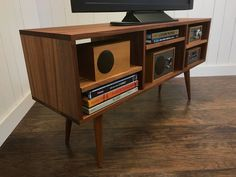 Solid mahogany TV stand stereo cabinet or media console mid | Etsy Modern Record Player, Record Player Console, Stereo Cabinet, Record Cabinet, Vinyl Storage, Entertainment Room, Mid-century Modern, Modern Living, Yurts