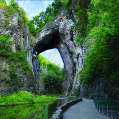 At the Natural Bridge of Virginia walk through the great stone archway and alongside the Cedar Creek and get some amazing shots.