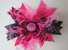 Hot pink zebra bow