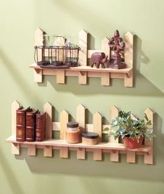 Set Of Two Wooden Fence Shelves Natural Traditional Picket Fence Wall Decor in Home & Garden,Home Décor,Wall Shelves Dog Fence, Cedar Fence, Wooden Fence, Fence Landscaping, Backyard Fences, Backyard Privacy, Fence Garden, Wall Decor Set, Modern Wall Decor