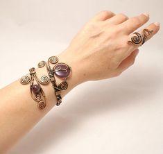 Amethyst Bracelet Copper Bracelet Women Amethyst Cuff | Etsy