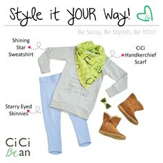 Comfy weekend CiCi Style!   CiCi Bean - clothing for tween girls.   Contact your local Play Stylist or shop online at www.peekaboobeans.com   #cicibeanstyle