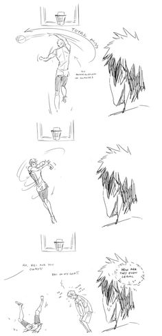 Free goes Kuroko's Basketball ... part 5 (just when Kagami thought he'd get serious competition ...) ... Drawn by hubedihubbe ... Free! - Iwatobi Swim Club, haruka nanase, haru nanase, haru, nanase, free!, iwatobi, makoto tachibana, makoto, tachibana, nagisa hazuki, nagisa, hazuki, rei ryugazaki, rei, ryugazaki, gou matsuoka, matsuoka, gou, aida, riko, riko aida, tetsuya kuroko, kuroko, tetsuya, basketball, kagami, taiga kagami, taiga