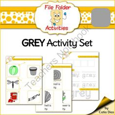 Grey - File Folder Activity Set from Catia Dias on TeachersNotebook.com -  (10 pages)  - File folder activity sets are the perfect type of resource for centers and independent learning. They are ideal for use as an extra activity for those students that always finish early, to take home a