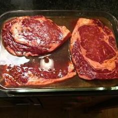 A super-easy and delicious marinade to be used with steak. Soy sauce is mixed with water, cider vinegar, garlic and ground ginger. Allow steak to marinate for at least 30 minutes before cooking. Steak Marinade Recipes, Marinade Sauce, Marinated Steak, Grilling Recipes, Sauce Recipes, Beef Recipes, Cooking Recipes, Soy Sauce, Steak Marinades