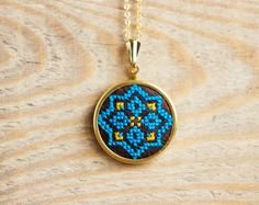 Ethnic necklace - Hand embroidered cross stitch jewelry - Aztec, Mexican embroidery - n017