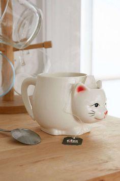 white cute cat mug