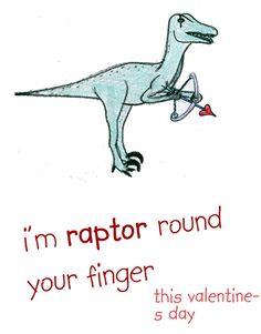 Cute raptor valentine's card