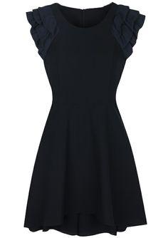 Black Cascading Ruffle Sleeve Back Zipper Dress - Sheinside.com