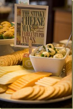 Book party with themed food matched with books – LOVE. I think I just found G's … Book party with themed food matched with books – LOVE. I think I just found G's party! (wanted a book party last year, but couldn't work it out…this is amazing) Storybook Party, Storybook Baby Shower, Baby Shower Themes, Baby Boy Shower, Shower Ideas, Baby Showers, Baby Shower Book Theme, Book Shower, Food Themes