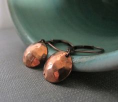 Copper Earrings Dangle Earrings Hammered Copper by fiveforty, $20.00