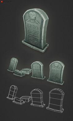 Low Poly Grave Stones join us http://pinterest.com/koztar/