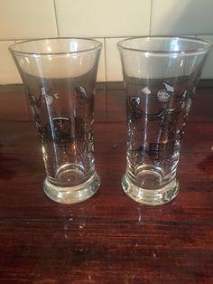 Vintage Libbey Glass Manhattan Carriage Car Shot Glasses / Two Vintage Shotu2026
