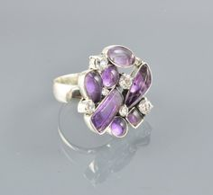 Amethyst ring sterling silver purple ring by Bocisoartjewelry