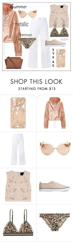 """Summer metallic shimmer"" by frenchfriesblackmg ❤ liked on Polyvore featuring STELLA McCARTNEY, Linda Farrow, Needle & Thread, LoveStories and Michael Kors"