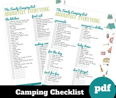 Camping Packing Lists, RV Camper Checklist printable, Download, Gift for camper, Camping with Kids Planner, Camping checklist