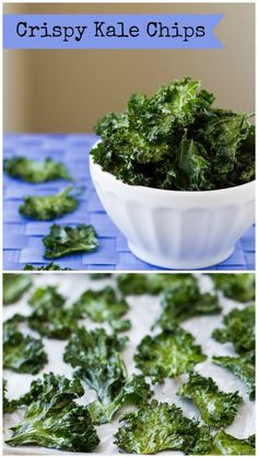 Pinner wrote on - I tried this recipe, but used coconut oil instead of olive oil, & pure Himalayan pink salt and they were SUPER YUMMY! - crispy Kale Chips are a crave-worthy snack with plenty of salt and crunch, but hey, you're eating vegetables too! Kale Chip Recipes, Vegetable Recipes, Vegetarian Recipes, Cooking Recipes, Healthy Recipes, Vegetable Appetizers, Veggie Food, Cooking Tips, Diet Recipes