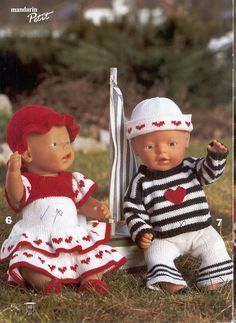Billedresultat for baby born strikkeoppskrifter Knitting Dolls Clothes, Baby Doll Clothes, Knitted Dolls, Crochet Dolls, Baby Dolls For Kids, Bear Doll, Bitty Baby, Child Doll, Doll Patterns