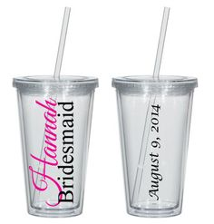 Personalized Bridal Party Tumbler Clear Plastic with by CaryMeHome