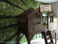 A DIY Club House / Tree House bed inspired by Pottery Barn Kids! #kidsroom #homedecor