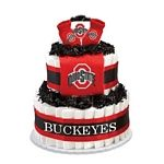 """Ohio State Buckeyes Diaper Cake - The perfect baby shower gift for the collegiate sports fan! These creations are made from layers of diapers, stacked to look like a cake and filled with licensed collegiate baby products (or as we like to call them, """"ingredients""""). The standard diaper cake includes two layers of diapers (40-45), a team t-shirt, knit cap and booties.     Cakes may vary in color or """"ingredients"""" with available inventory."""
