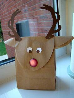 Reindeer Brown Paper Gift Bags | cannycrafter: Christmas Countdown 2012 Project 19 - Reindeer gift bag