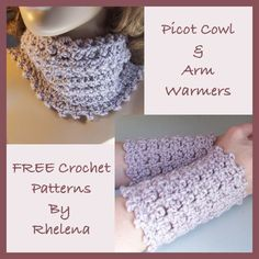 Picot Cowl & Arm Warmers - FREE crochet pattern from CrochetN'Crafts.