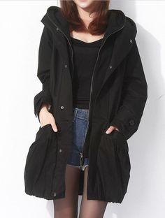 Black commoner style large size windbreaker jacket casual loose hooded tunic plus size Trench coat Windcheater Windcoat, $75.90