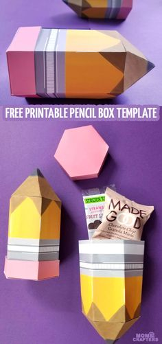 Grab your free printable pencil box template for a back to school treat for the first day of school or for a fun teachers gift idea! The post Grab your free printable pencil box template for a… appeared first on Pinova - Paper Crafts Box Templates Printable Free, Paper Box Template, Origami Templates, Cute Gift Boxes, Diy Gift Box, Favor Boxes, Teachers Day Gifts, Best Teacher Gifts, School Treats