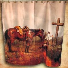 Praying Cowboy Shower Curtain | MonsterMarketplace.com