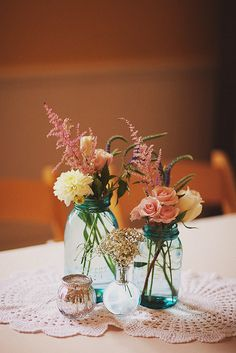 Reception flowers - Dahlias, astilbe, lisianthus, roses & baby's breath by Weddings by Jennifer, via Flickr
