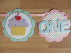 Pastel Ice Cream and Cupcakes Birthday Party Shower I am 1 One High Chair Age Banner Sign Sweet Treats Shop Pink Yellow Blue Green Purple